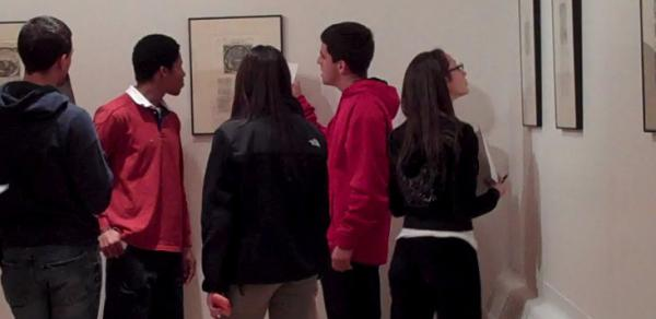 Students viewing an art history exhibit recently at CSI.