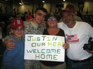 Ruiz's family welcome him home from his tour in Iraq.