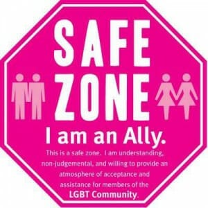 Stickers like this on the College of Staten Island campus signify support for LGBTQ students and culture.