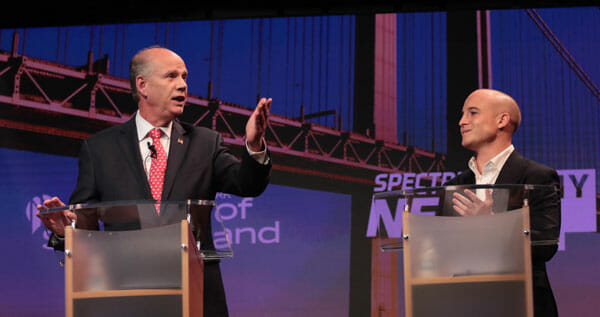 Dan Donovan, left, and Max Rose met for a debate at the College of Staten Island Oct. 16.