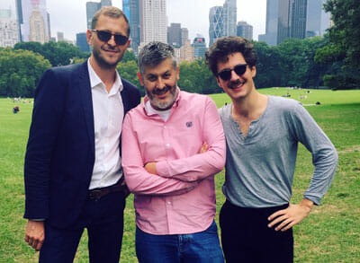 From left to right, Mathieu Fournet, Cultural Attaché for Film and Television at the French Embassy, Director Christophe Honoré, and Actor Vincent Lacoste who stars in Honoré's 2018 film, Sorry Angel.
