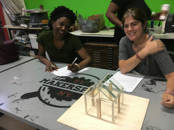 Joy Hines and Nancy Rogina, both at P.S. 18, designing projects for their students at Staten Island MakerSpace. As part of the program, each Master Teaching Fellow will be able to bring their students to the MakerSpace for STEM experience.