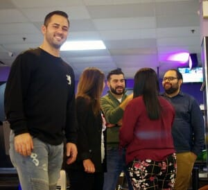 Rich Pallorino, left, during the recent alumni networking event at a Staten Island bowling alley.